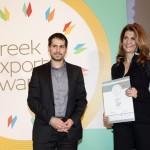 Bronze βραβείο στην κατηγορία Top Export Packaging παραλαμβάνει η κα. Χρυσάνθη Σοφρωνά, Fouder και CEO της εταιρείας ELEOKOMIA LTD από το Μενέλαο Σαμαρά, Γενικό Γραμματέα του ΣΕΒΕ