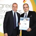 Bronze βραβείο στην κατηγορία Top Export Assistance Company παραλαμβάνει ο κ. Πλάτωνας Μαρλαφέκας, Πρόεδρος του Επιμελητηρίου Αχαΐας Achaiavalues  από τον κ. Τζανέτο Καραντζή, Πρόεδρο της Ενωσης Διπλωματικών Υπαλλήλων Οικονομικών και Εμπορικών Υποθέσεων