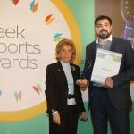 Gold βραβείο στην κατηγορία Top Export Assistance Company παραλαμβάνει o κ.  κ. Ιωάννης Μπρας, Πρόεδρος και Διευθύνων Σύμβουλος στον ΟΡΓΑΝΙΣΜΟ ΛΙΜΕΝΟΣ ΗΡΑΚΛΕΙΟΥ Α.Ε. από την κα.  Παναγιωτοπούλου, Γενική Γραμματεύς του Ελληνοαμερικανικού Εμπορικού Επιμελητηρίου και Πρόεδρο Επιτροπής του «Εκπαίδευση Καινοτομία Επιχειρηματικότητα».