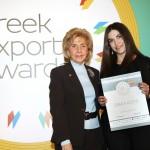 Bronze βραβείο στην κατηγορία Top Export Company Brand παραλαμβάνει η Κορίνα Τσούτσου, Marketing Manager της εταιρείας Greka Icons S.A. από την κα. Παναγιωτοπούλου, Γ. Γ. του Ελληνοαμερικανικού Εμπορικού Επιμελητηρίου και Πρόεδρο Επιτροπής του «Εκπαίδευση Καινοτομία Επιχειρηματικότητα»