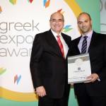 Bronze βραβείο στην κατηγορία Top Branded Export Service παραλαμβάνει ο κ. Ευάγγελος Βουρδόλης, Consulting Specialist, Integration & Consulting της εταιρείας LAMDA HELLIX από το Γιώργο Φλέσσα, Πρόεδρο και Δ/νων Σύμβουλο της  CIVITAS